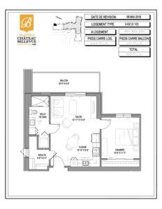 Château Bellevue Valleyfield – résidence pour aînés – plan logement 3½ 3-G2
