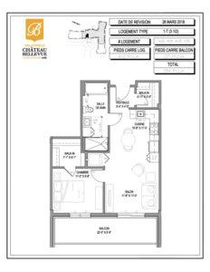 Château Bellevue Valleyfield – résidence pour aînés – plan logement 3½ 1-T