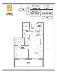 Château Bellevue Valleyfield – résidence pour aînés – plan logement 3½ 1-T 3e