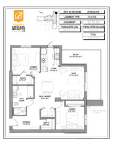 Château Bellevue Valleyfield – résidence pour aînés – plan logement 4½ 1-A