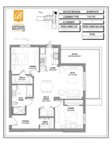 Château Bellevue Valleyfield – résidence pour aînés – plan logement 4½ 1-A 4e