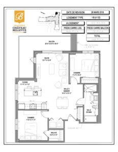 Château Bellevue Valleyfield – résidence pour aînés – plan logement 4½ 1-B