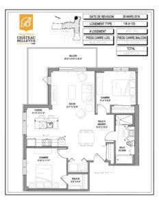 Château Bellevue Valleyfield – résidence pour aînés – plan logement 4½ 1-B 6e 7e