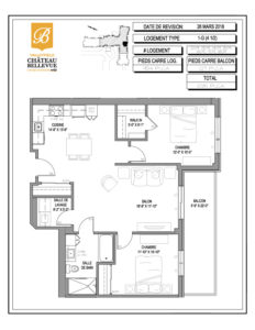 Château Bellevue Valleyfield – résidence pour aînés – plan logement 4½ 1-G