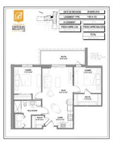 Château Bellevue Valleyfield – résidence pour aînés – plan logement 3½ 1-M2 8e
