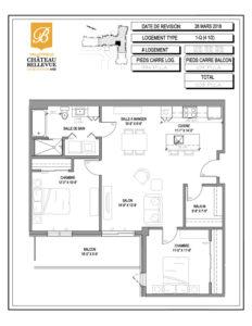 Château Bellevue Valleyfield – résidence pour aînés – plan logement 4½ 1-Q