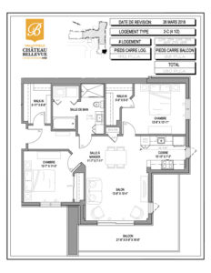 Château Bellevue Valleyfield – résidence pour aînés – plan logement 4½ 2-C