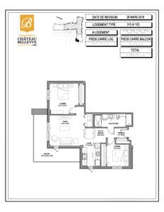 Château Bellevue Valleyfield – résidence pour aînés – plan logement 4½ 3D